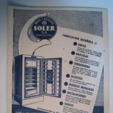 Coleccionismo Papel secante: PAPEL SECANTE PUBLICIDAD ARCAS Y BASCULAS SOLER. Lote 9234154