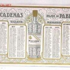 Collectionnisme Papier buvard: PAPEL SECANTE ANIS LAS CADENAS CALENDARIO 1928 VILLAVA NAVARRA HIJOS DE PABLO ESPARZA. Lote 265780114
