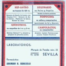 Coleccionismo Papel secante: LABORATORIOS QUER (SEVILLA). Lote 21463087