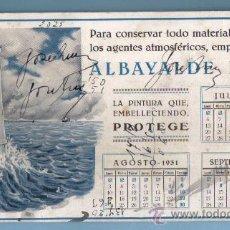 Coleccionismo Papel secante: PAPEL SECANTE CON PUBLICIDAD Y CALENDARIO. 1931. PINTURA ALBAYALDE PURO. Lote 27206882