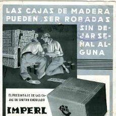 Coleccionismo Papel secante: PAPEL SECANTE TAMAÑO 22X15,8 CMS. CON PUBLICIDAD DE CARTONAJES Y ARTES GRÁFICAS.. Lote 10830997