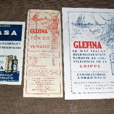 Coleccionismo Papel secante: 3 SECANTES DE GLEFINA LASA. LABORATORIOS ANDROMACO.. Lote 24462021