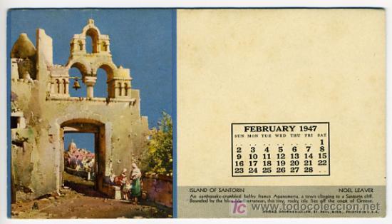 SECANTE PUBLICIDAD ISLAND OF SANTORIN , CALENDARIO 1947 , USA , SEC303 (Coleccionismo - Papel Secante)