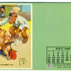 Coleccionismo Papel secante: SECANTE CHICA PIN UP , CON CERDITOS, CALENDARIO 1946 , USA , SEC305. Lote 23485084