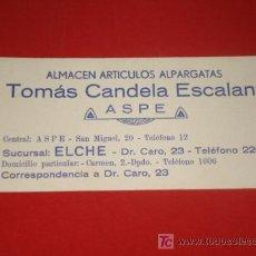 Coleccionismo Papel secante: PAPEL SECANTE, PUBLICIDAD, ALMACEN DE ALPARGATAS, TOMÁS CANDELA ESCALANT, ASPE. AÑOS 50.. Lote 25326494