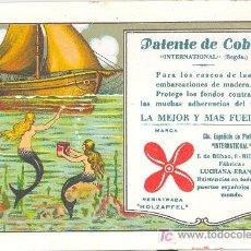Coleccionismo Papel secante: PEPEL SECANTE DE LA PUBLICIDAD DE PATENTE DE COBRE HOLZAPFEL BILBAO. Lote 11958755
