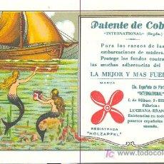 Coleccionismo Papel secante: PEPEL SECANTE DE LA PUBLICIDAD DE PATENTE DE COBRE HOLZAPFEL BILBAO. Lote 20896374