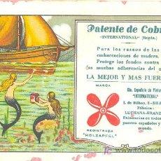 Coleccionismo Papel secante: PEPEL SECANTE DE LA PUBLICIDAD DE PATENTE DE COBRE HOLZAPFEL BILBAO. Lote 11958766