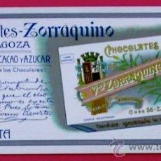Coleccionismo Papel secante: SECANTE CHOCOLATES ZORRAQUINO, ZARAGOZA. DÉCADA DE 1910.. Lote 278928708