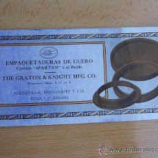 Coleccionismo Papel secante: LA HABANA - SECANTE - EMPAQUETADURAS DE CUERO THE GREATON KNGHT MFG . CO APROX 1920 PERFECTO - . Lote 13530238