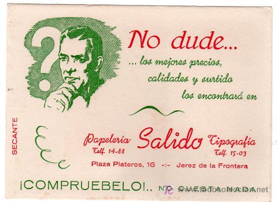 PAPEL SECANTE PAPELERIA SALIDO TIPOGRAFIA JEREZ DE LA FRONTERA, CADIZ (Coleccionismo - Papel Secante)