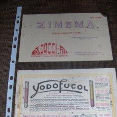 Coleccionismo Papel secante: 2 SECANTES. ZIMEMA Y YODOFUCOL. SANGRE.. Lote 13908227