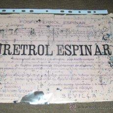 Coleccionismo Papel secante: GRAN SECANTE DE URETROL ESPINAR. LABORATORIOS ESPINAR, SEVILLA.. Lote 13911101