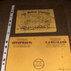 Coleccionismo Papel secante: 2 SECANTES MUY ANTIGUOS. LABORATORIOS CHARVOZ Y LABORATORIOS TIO, BARCELONA.. Lote 27522961