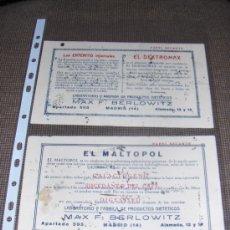 Coleccionismo Papel secante: 2 SECANTES DE LABORATORIOS MAX F. BERLOWITZ. MADRID.. Lote 13913809