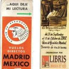 Coleccionismo Papel secante: DOS MARCAPAGINAS, AERO MEXICO 1968 Y FERIA DEL LIBRO ANTIGUO AÑO 2002. Lote 25046132