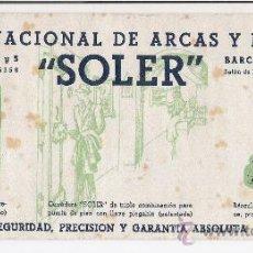 Coleccionismo Papel secante: FABRICA NACIONAL DE ARCAS Y BASCULAS **SOLER** BARCELONA. Lote 15395315
