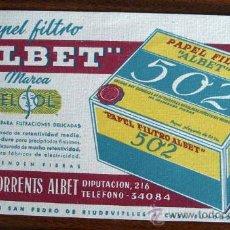 Coleccionismo Papel secante: PAPEL DE FILTRO ALBET - ROMULO TORRENTS ALBET - PAPEL DE FILTRO 502. Lote 15864214