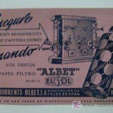 Coleccionismo Papel secante: PAPEL SECANTE PUBLICIDAD DISCOS DE PAPEL FILTRO ALBET. . Lote 18870301