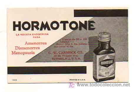 PAPEL SECANTE CON PUBLICIDAD DE FARMACIA 'HORMOTONE'. USA. (Coleccionismo - Papel Secante)