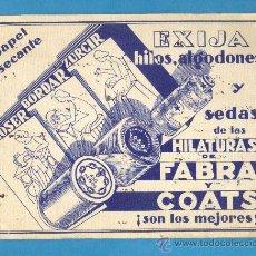 Coleccionismo Papel secante: PAPEL SECANTE PUBLICIDAD HILATURAS DE FABRA Y COATS. Lote 26023086