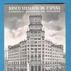 Coleccionismo Papel secante: PAPEL SECANTE PUBLICIDAD SEGUROS BANCO VITALICIO DE ESPAÑA. Lote 26023095