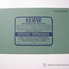 Coleccionismo Papel secante: PAPEL SECANTE PUBLICIDAD DETECTIVES BEHAR BARCELONA. Lote 94709454