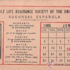 Coleccionismo Papel secante: PAPEL SECANTE THE EQUITABLE. CALENDARIO JUNIO 1900. Lote 27256295