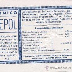 Coleccionismo Papel secante: PAPEL SECANTE CON PUBLICIDAD MÉDICA, ORIGINAL DE ÉPOCA, AÑOS 30. Lote 19737548