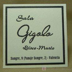 Coleccionismo Papel secante: CARTON SECANTE, SALA GIGOLO, DISCO - MUSIC, VALENCIA, POSAVASOS, 1960S. Lote 20280078