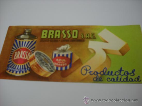 SECANTE. BRASSO S.A.E. PRODUCTOS DE CALIDAD. DEUSTO-BILBAO - LIMPIAS (SANTANDER) 20X9 CMS. (Coleccionismo - Papel Secante)