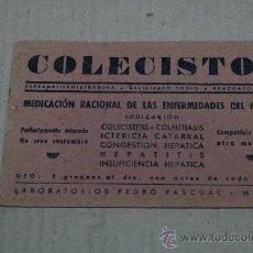 Coleccionismo Papel secante: PAPEL SECANTE PUBLICIDAD FARMACIA COLECISTOL. Lote 23460637