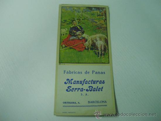 PAPEL SECANTE DE FABRICAS DE PANAS MANUFACTURAS SERRA - BALET (BARCELONA) (Coleccionismo - Papel Secante)