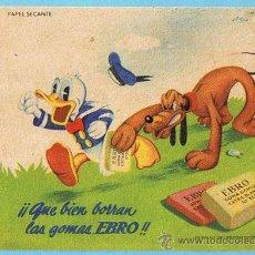 Coleccionismo Papel secante: PAPEL SECANTE. EBRO. DONALD, PLUTO, WALT DISNEY.. Lote 24610981