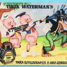 Coleccionismo Papel secante: PAPEL SECANTE. TINTA WATERMAN'S. WATERMAN. PARA ESTILOGRÁFICA. CERDITOS Y LOBO. WALT DISNEY.. Lote 24612321