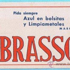 Coleccionismo Papel secante: PAPEL SECANTE. BRASSO. AZUL EN BOLSITAS Y LIMPIA METALES. LERCHUNDI, S. A. BILBAO, SIN FECHA.. Lote 26929798