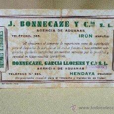 Coleccionismo Papel secante: PAPEL SECANTE, J. BONNECAZE Y CIA, TRANSPORTES INTERNACIONALES, FRANCIA, HENDAYA, ESPAÑA, IRUN. Lote 26192404
