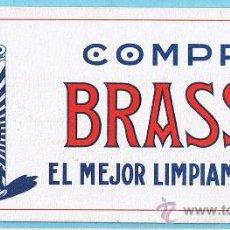 Coleccionismo Papel secante: PAPEL SECANTE. COMPRE BRASSO EL MEJOR LIMPIAMETALES. LERCHUNDI, S. A. BILBAO, SIN FECHA.. Lote 26091446