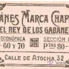 Coleccionismo Papel secante: PAPEL SECANTE GABANES MARCA CHAPATTE.EL REY DE LOS GABANES.CALLE ATOCHA MADRID.. Lote 26123661