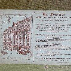 Coleccionismo Papel secante: ANTIGUO PAPEL SECANTE, LA FONCIERE, COMPAÑIA DE SEGUROS DE TRANSPORTES, ACCIDENTES Y ROBO, 1920 S. Lote 26233798