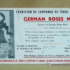 Coleccionismo Papel secante: PAPEL SECANTE, GERMAN ROSES MARTI, VALENCIA, 21 X 10 CM. Lote 26362902