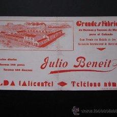 Coleccionismo Papel secante: ANTIGUO SECANTE - FABRICA DE HORMAS Y TACONES DE MADERA PARA EL CALZADO, JULIO BENEIT-ELDA, ALICANTE. Lote 26411753