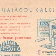 Coleccionismo Papel secante: PAPEL SECANTE LABORATORIO FARMACIA BALDACCIPISA IODARSOLO GUAIACOL CALCICO PASECA-064. Lote 26835732