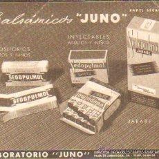 Coleccionismo Papel secante: PAPEL SECANTE LABORATORIOS JUNO MADRID PASECA-078. Lote 26880926