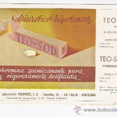 Coleccionismo Papel secante: TEO-SOD PAPEL SECANTE. Lote 27184477