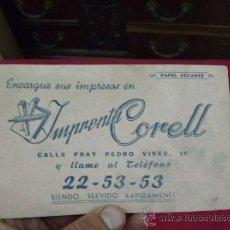 Coleccionismo Papel secante: PAPEL SECANTE IMPRENTA CORELL, VALENCIA. C-12. Lote 27406301