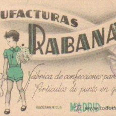 Coleccionismo Papel secante: PAPEL SECANTE PUBLICIDAD MANUFACTURAS RABANAL (CONFECCIONES), MADRID. TAMAÑO: 14,5X8,5CM. PASECA-102. Lote 27499165
