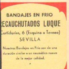 Coleccionismo Papel secante: PAPEL SECANTE PUBLICIDAD RECAUCHUTADOS LUQUE, SEVILLA. TAMAÑO: 10X8CM. PASECA-114. Lote 27518488