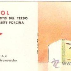 Coleccionismo Papel secante: SECANTE PUBLICIDAD SUISENTEROL PESTE PORCINA LABORATORIOS IBYS. Lote 27830017