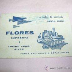 Coleccionismo Papel secante: PAPEL SECANTE DE IMPRENTA FLORES ,GIJÓN ,MUY ANTIGUO. Lote 29996795